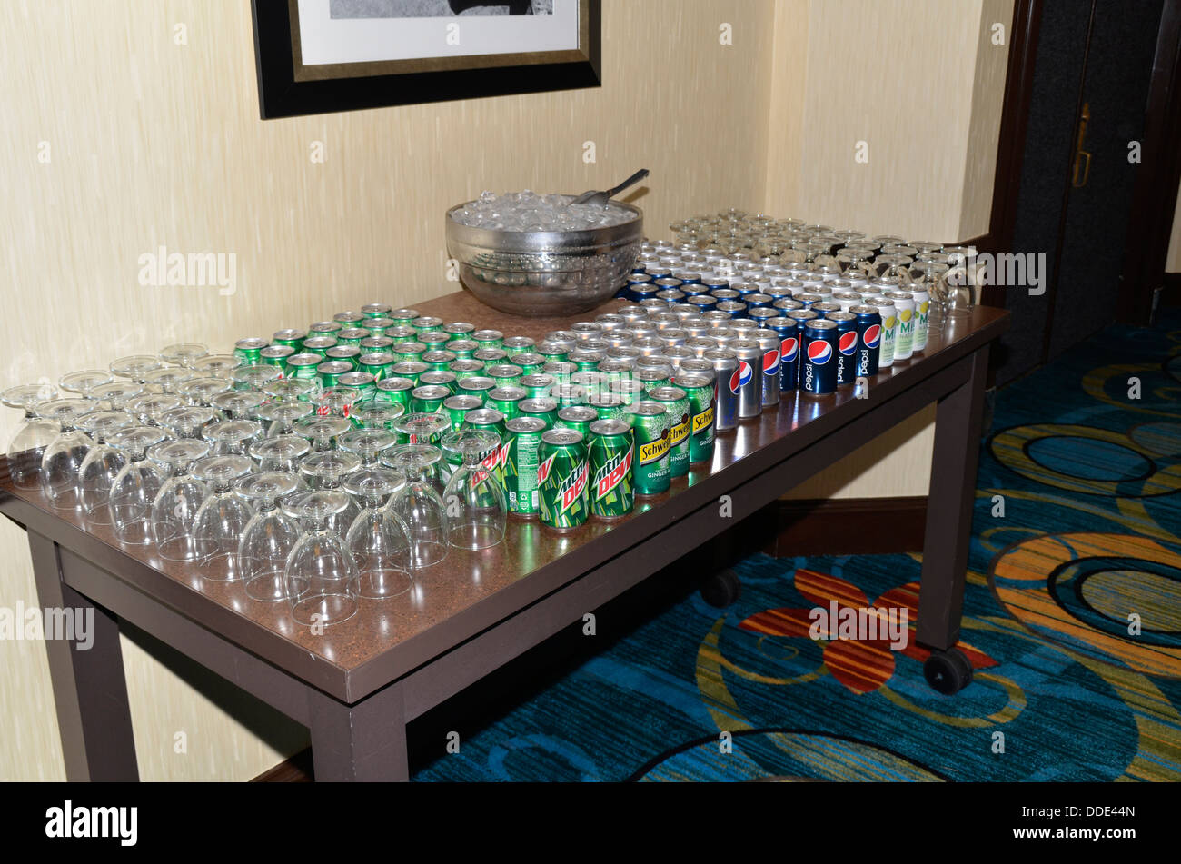 sodas set up for a special event at a hotel in Greenbelt, Maryland - Stock Image