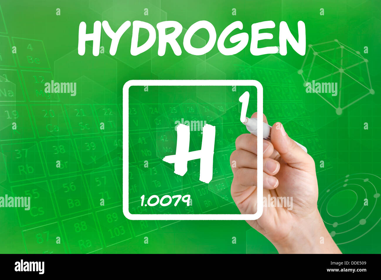 Hydrogen chemical element periodic table stock photos hydrogen symbol for the chemical element hydrogen stock image urtaz Images