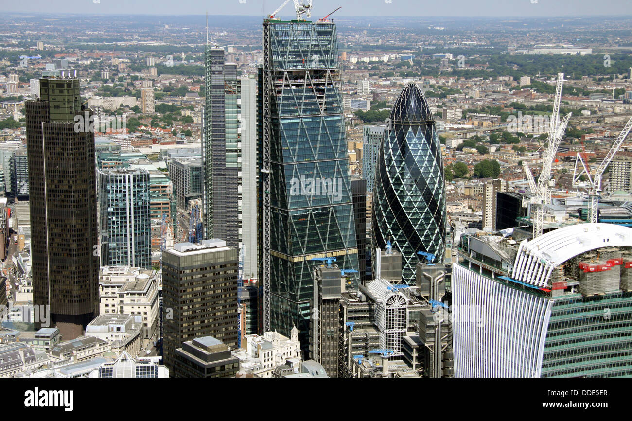 aerial view of the City of London square mile, Gherkin, Cheese grater, Walkie-Talkie, NatWest Tower buildings - Stock Image