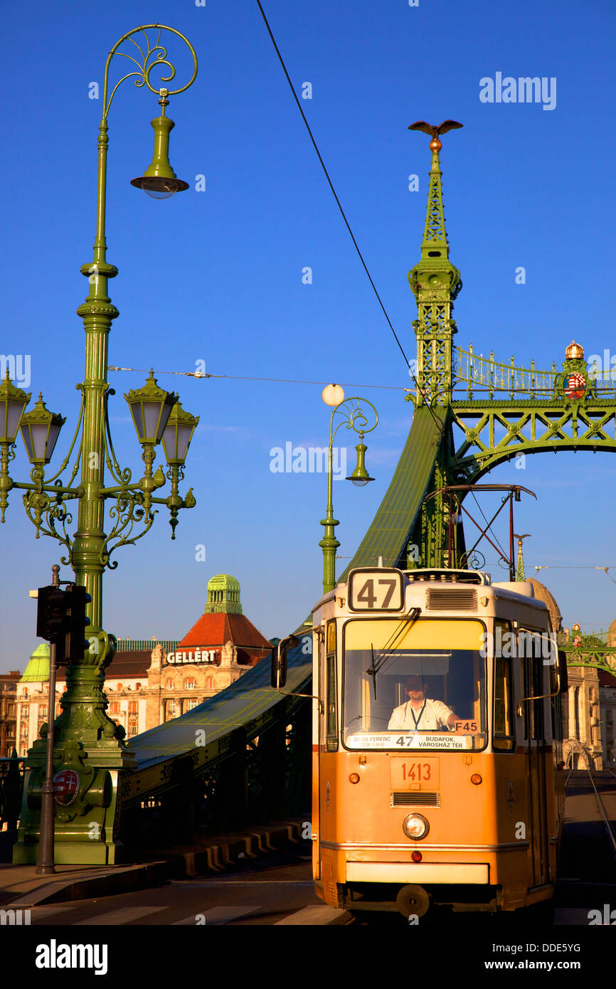 Gellert Hotel and Spa, Liberty Bridge and Tram, Budapest, Hungary, East Central Europe Stock Photo