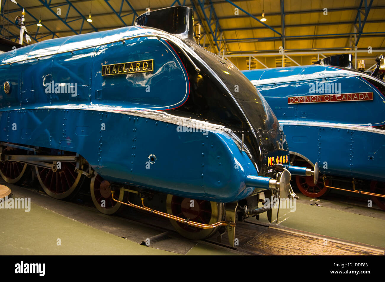 Mallard and Dominion of Canada steam trains on display at National Railway Museum in the city of York North Yorkshire - Stock Image