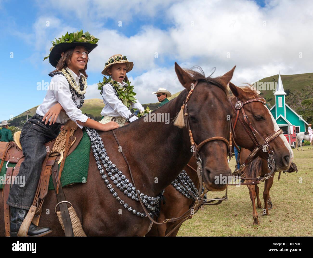 f85629702 Keiki pau riders await start of the Waimea Paniolo Parade on the Big Island  of Hawaiii