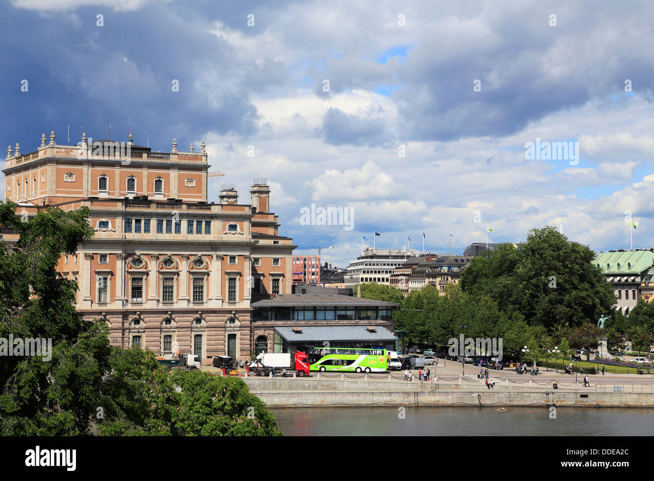 Stockholm, Sweden. View over the Royal Opera house and Kungstradgarden. Stockholm strom in the foreground. - Stock Image
