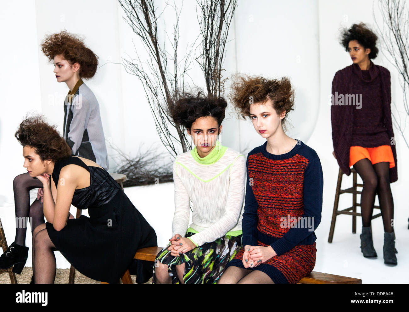 Models pose for Ann Yee presentation of Fall/Winter 2013 collection at Go Studios during Mercedes-Benz Fashion Week - Stock Image