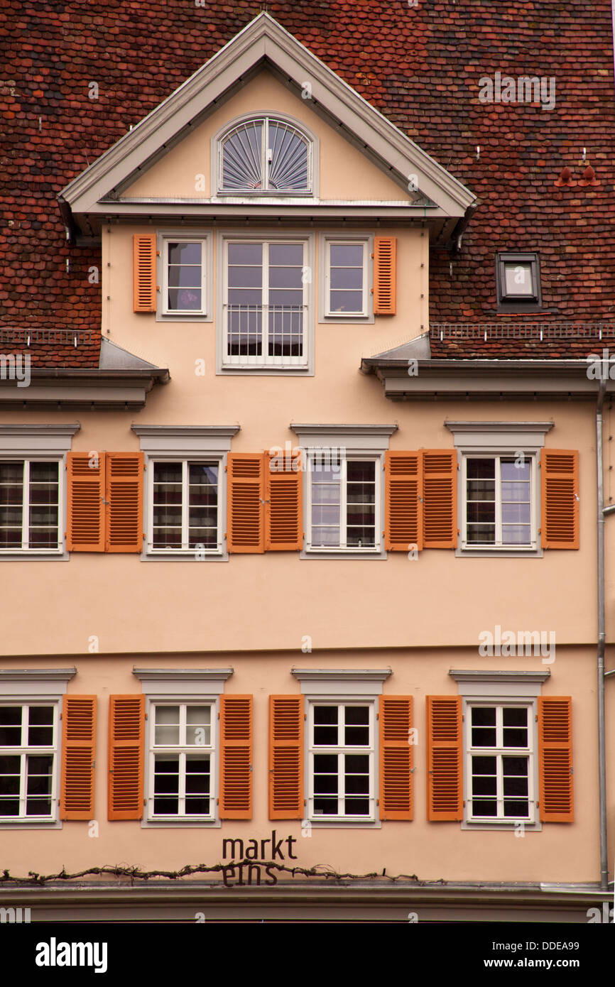 Decorative old house facade from Esslingen, Germany - Stock Image