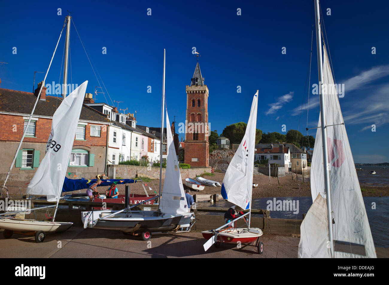 Sailing boats and Peters Tower, Lympstone Harbour, Exe Estuary, Devon, UK - Stock Image