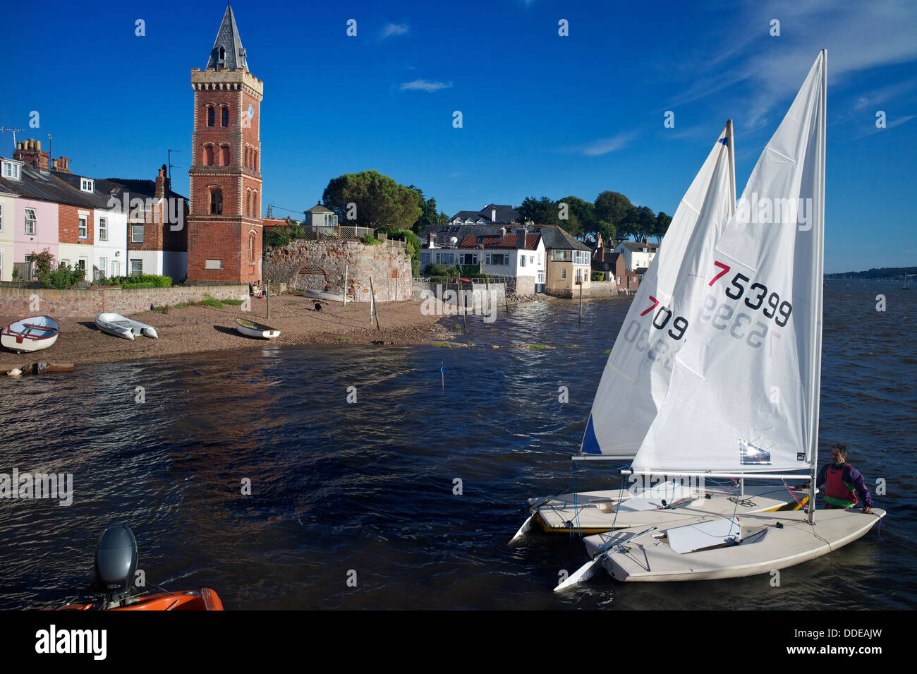 Sailing dinghies and Peters Tower, Lympstone Harbour, Exe Estuary, Devon, UK - Stock Image