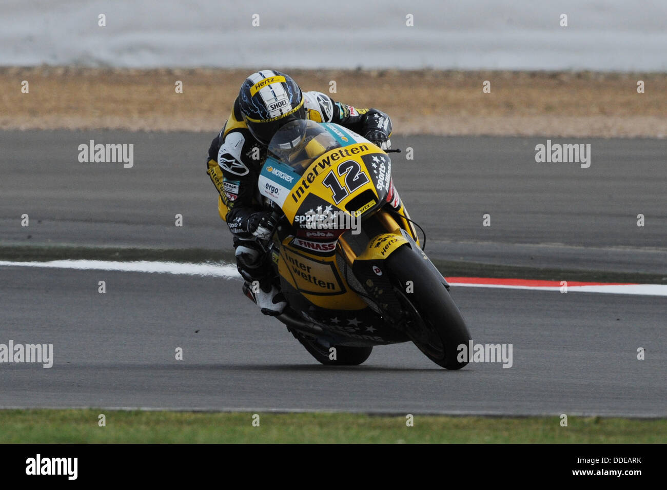 Silverstone, United Kingdom. 01st September 2013. Thomas Luthi (Interwetten Paddock Moto2) during the race at Silverstone - Stock Image