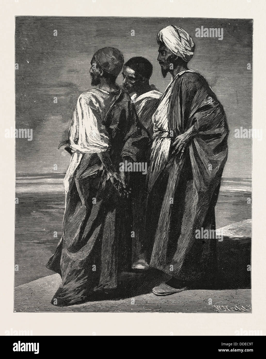 THE WATCHERS.  Egypt, engraving 1879 - Stock Image