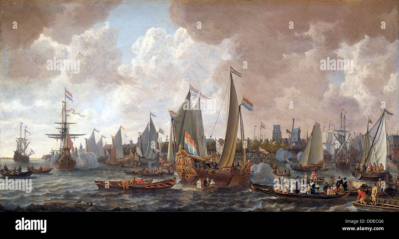 The arrival of King Charles II of England in Rotterdam, 24 May 1660. - Stock Image