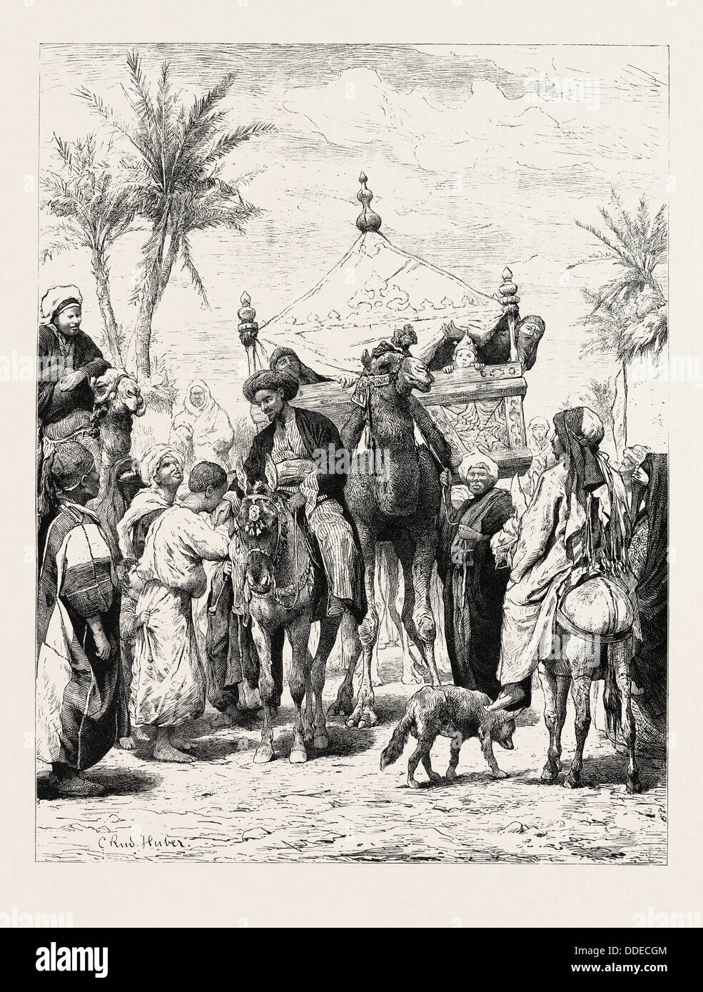 LANDED PROPRIETOR RETURNING FROM A PILGRIMAGE. Egypt, engraving 1879 - Stock Image