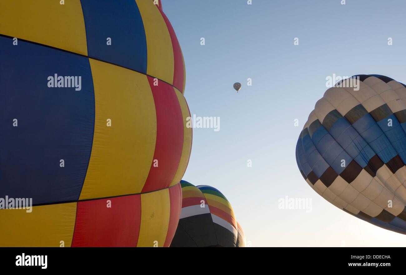 Hot air balloons over far West Texas. - Stock Image