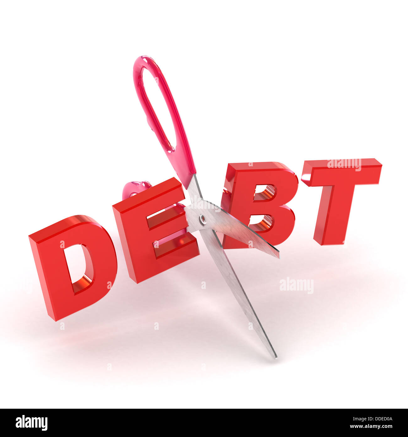 A Colourful 3d Rendered Cutting Debt Concept Illustration - Stock Image