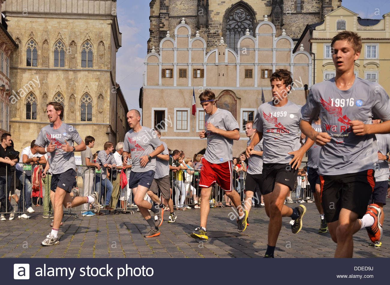 Contestants running through Old Town Square at ''We Run Prague'' annual race - Stock Image