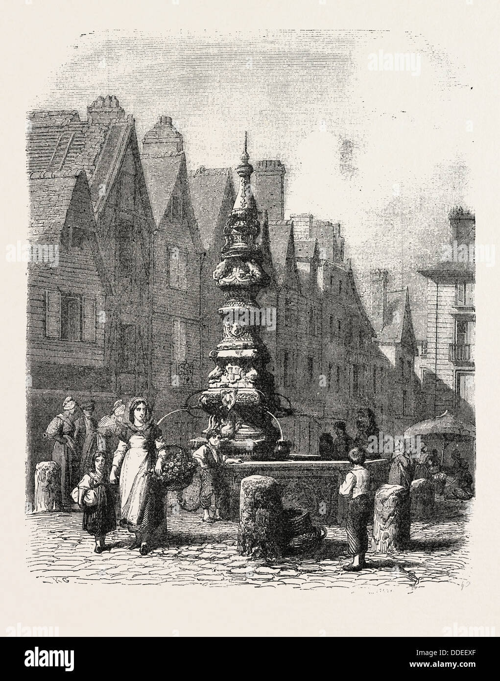 Fountain on the  grand marché in Tours, France. engraving 1855 - Stock Image