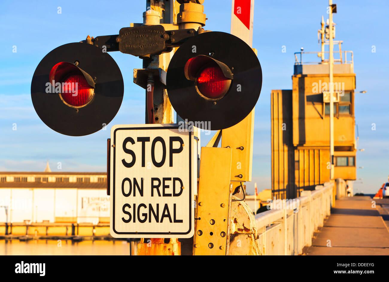 Birkenhead Bridge stop lights Port Adelaide in South Australia - Stock Image