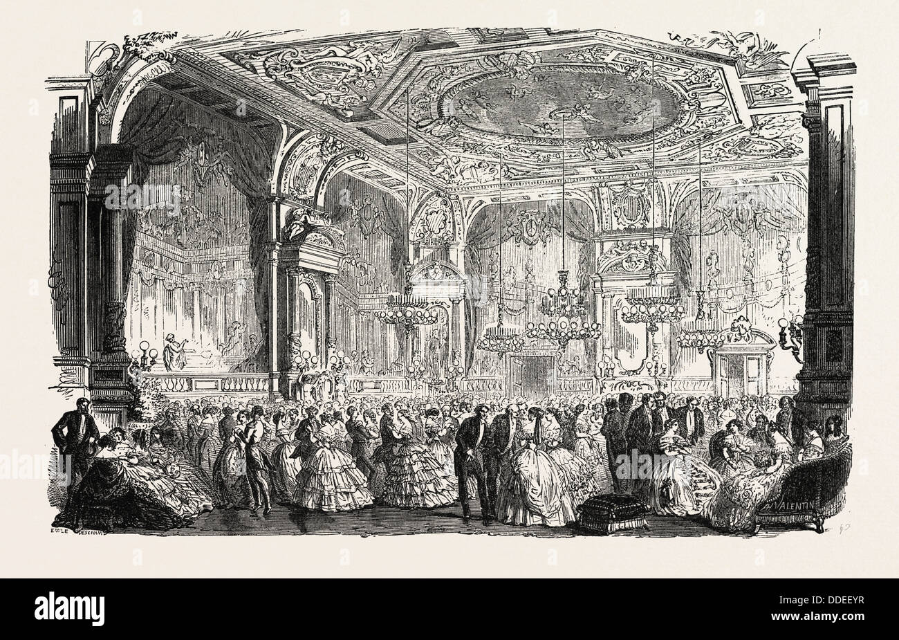 Palace of Versailles: The new dances and concerts hall. engraving 1855 - Stock Image