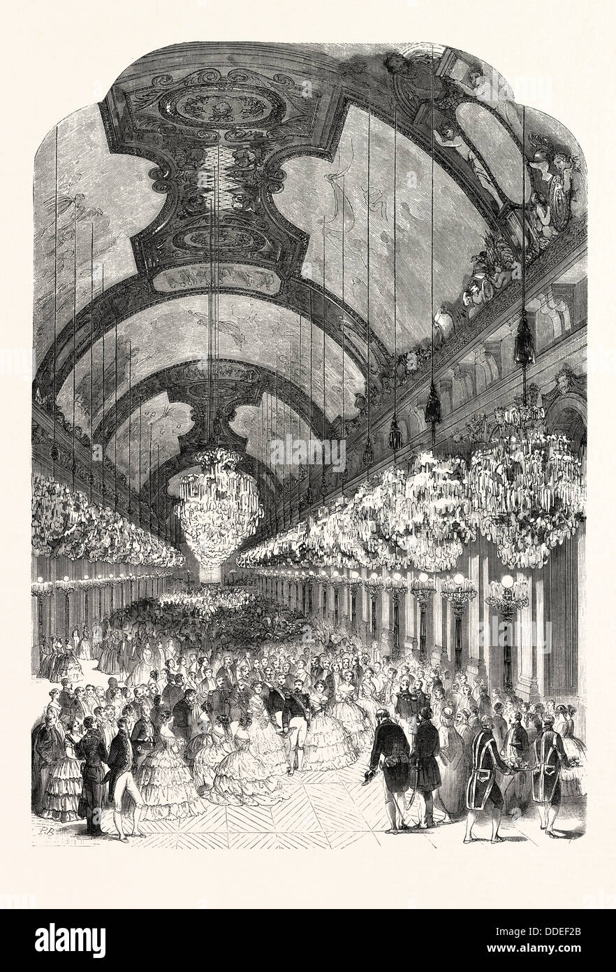 Entrance of LL. MM. Royals and Imperials in the Hall of Mirrors of the Palace of Versailles, August 25, 1855, France. - Stock Image