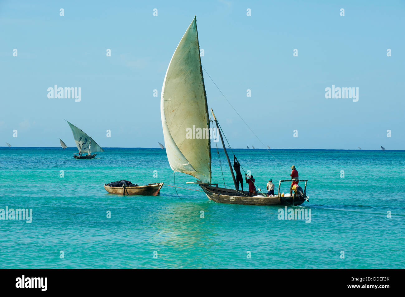 Tanzania, Zanzibar island, Unguja, fishing boat at Nungwi - Stock Image