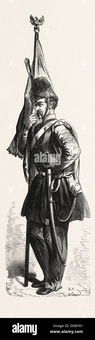 Uniform of the Polish cavalry in the service of the sultan. engraving 1855 - Stock Image