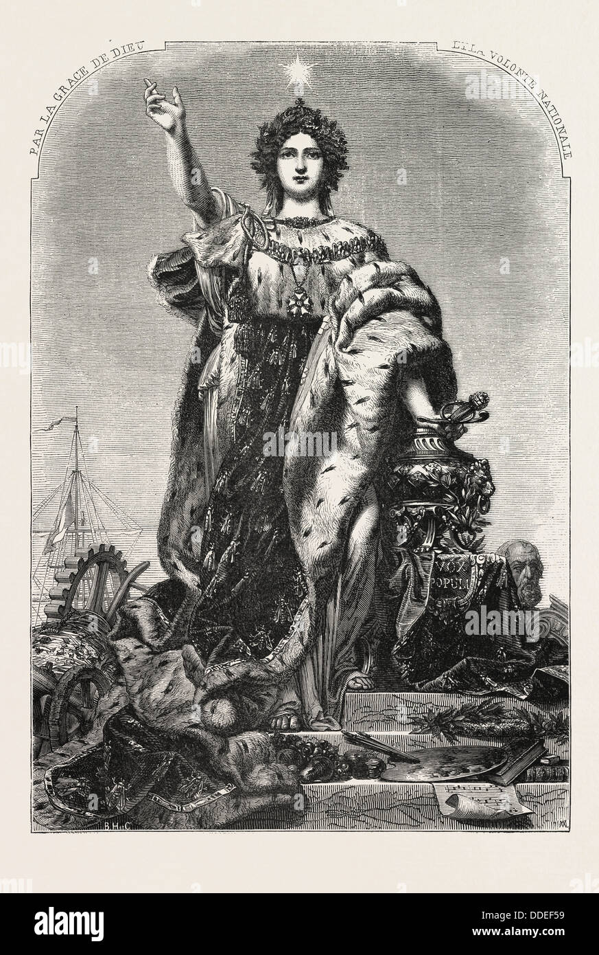 France, allegorical figure painting by M.A. Marc. 1855. Engraving - Stock Image