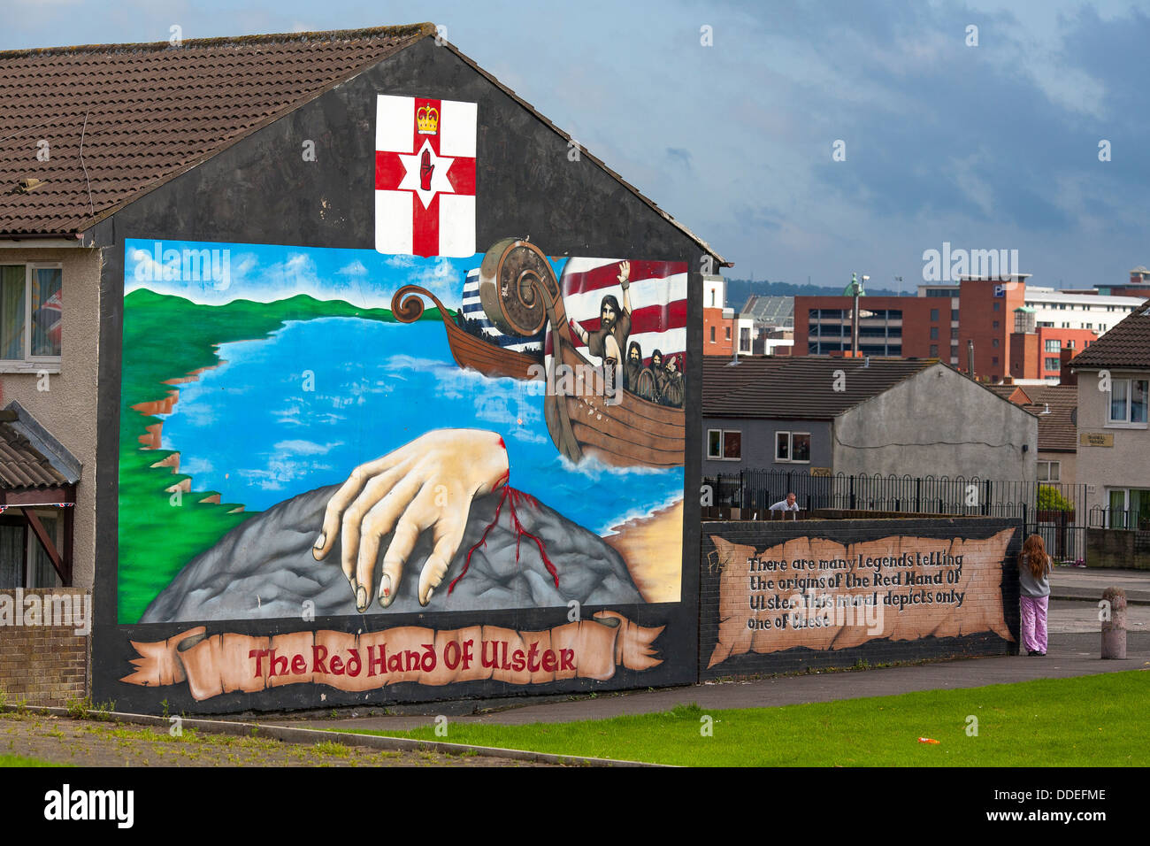 Murals on the protestant west Belfast celebrate victories and martyrs of the Irish troubles Stock Photo