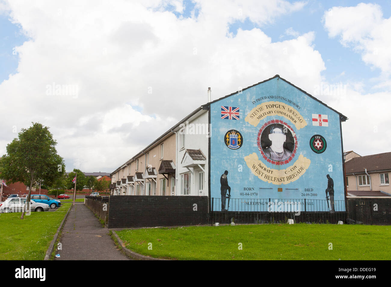 A mural in Belfast commemorates Stevie topgun Mckeag of the west Belfast Brigade a commander during the troubles. - Stock Image
