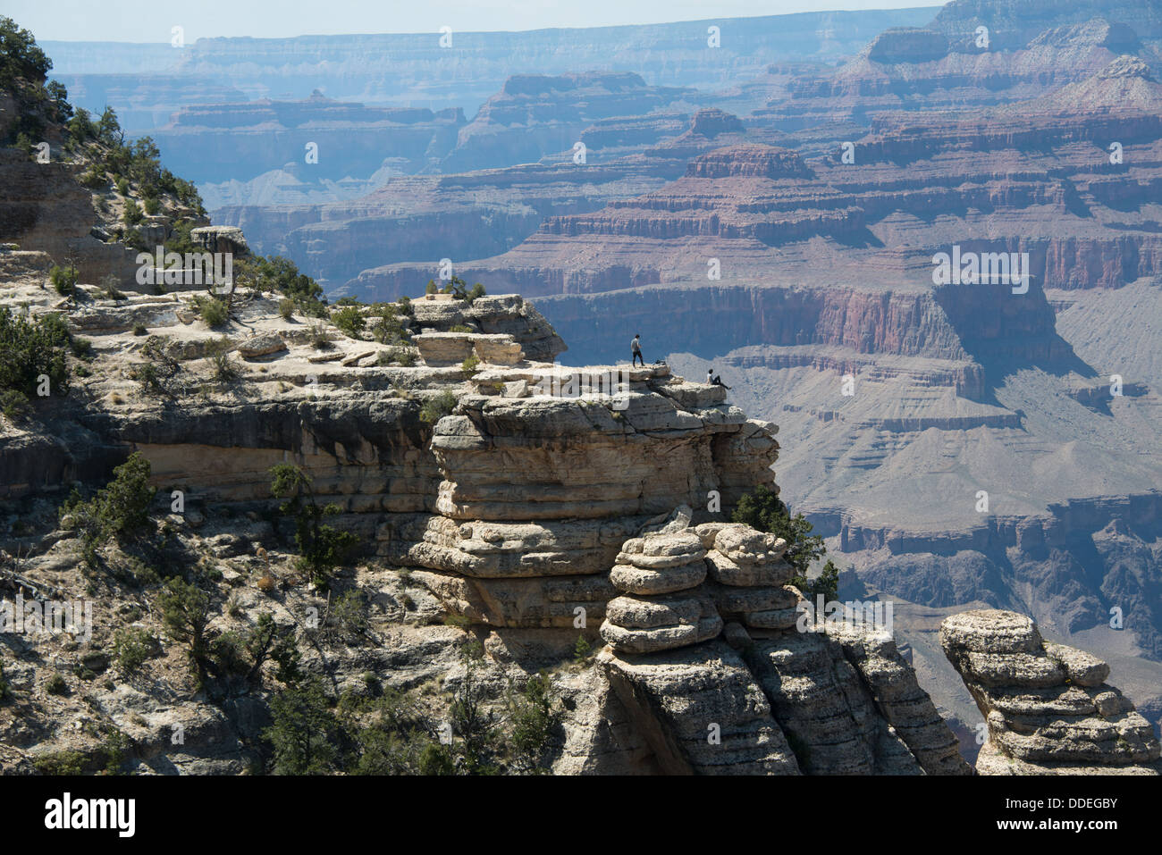 People on Cliff in Grand Canyon - Stock Image