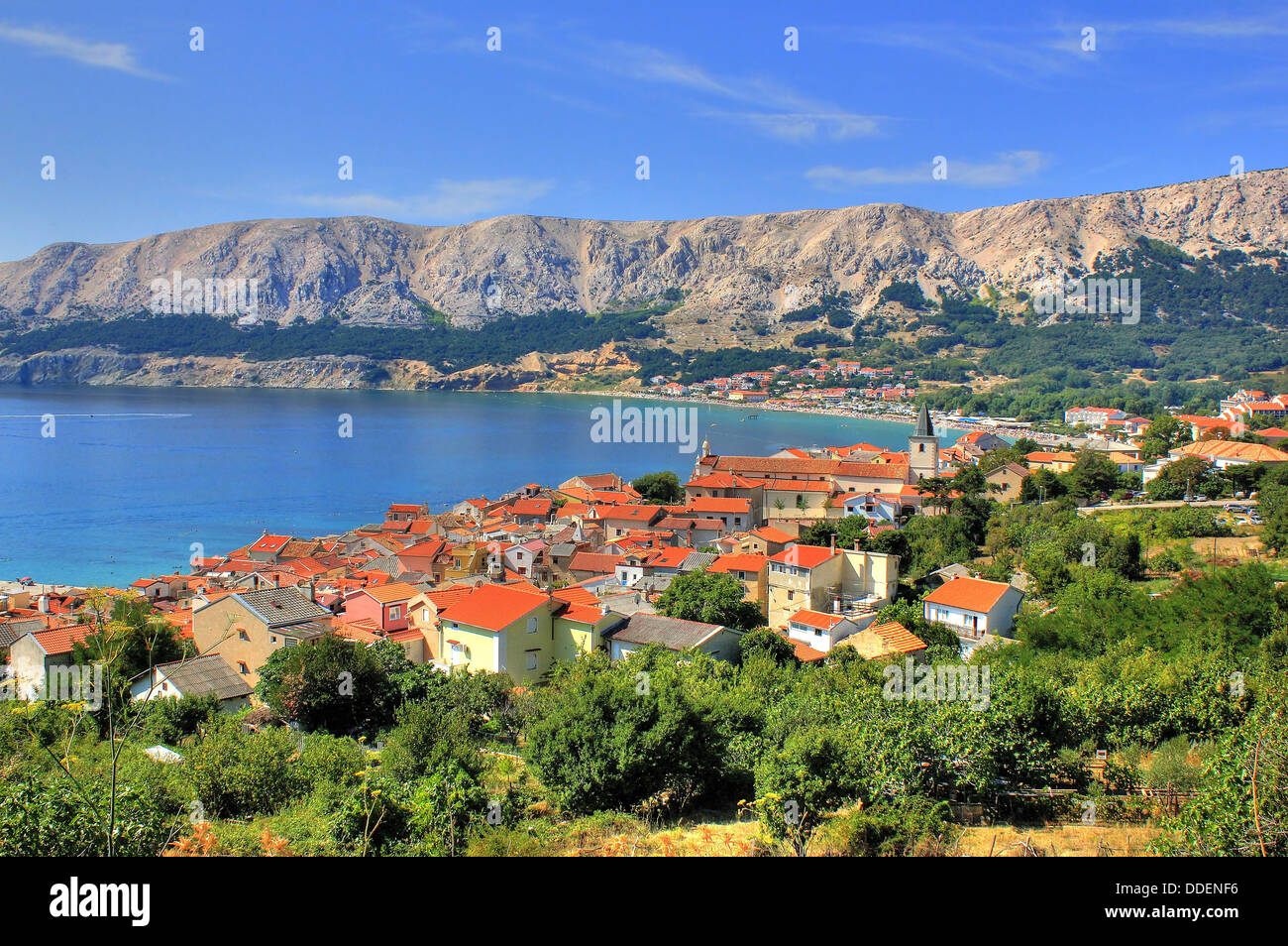 Town of Baska nature and architecture, Island of Krk, Croatia - Stock Image