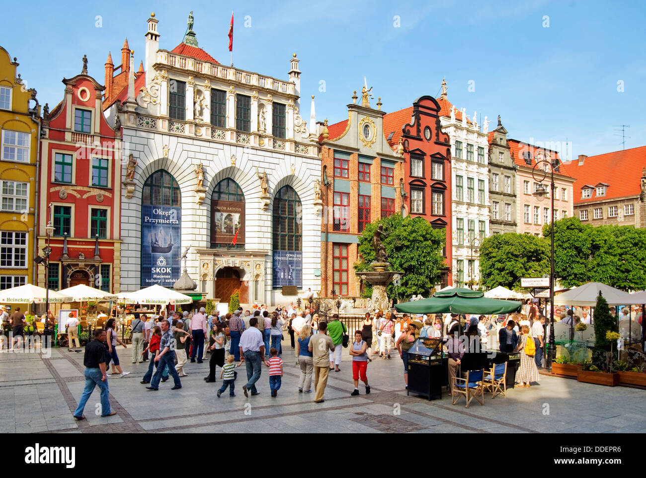 Tourists and Locals shopping and sightseeing in the historical old town at the port city of Danzig in Poland. Stock Photo