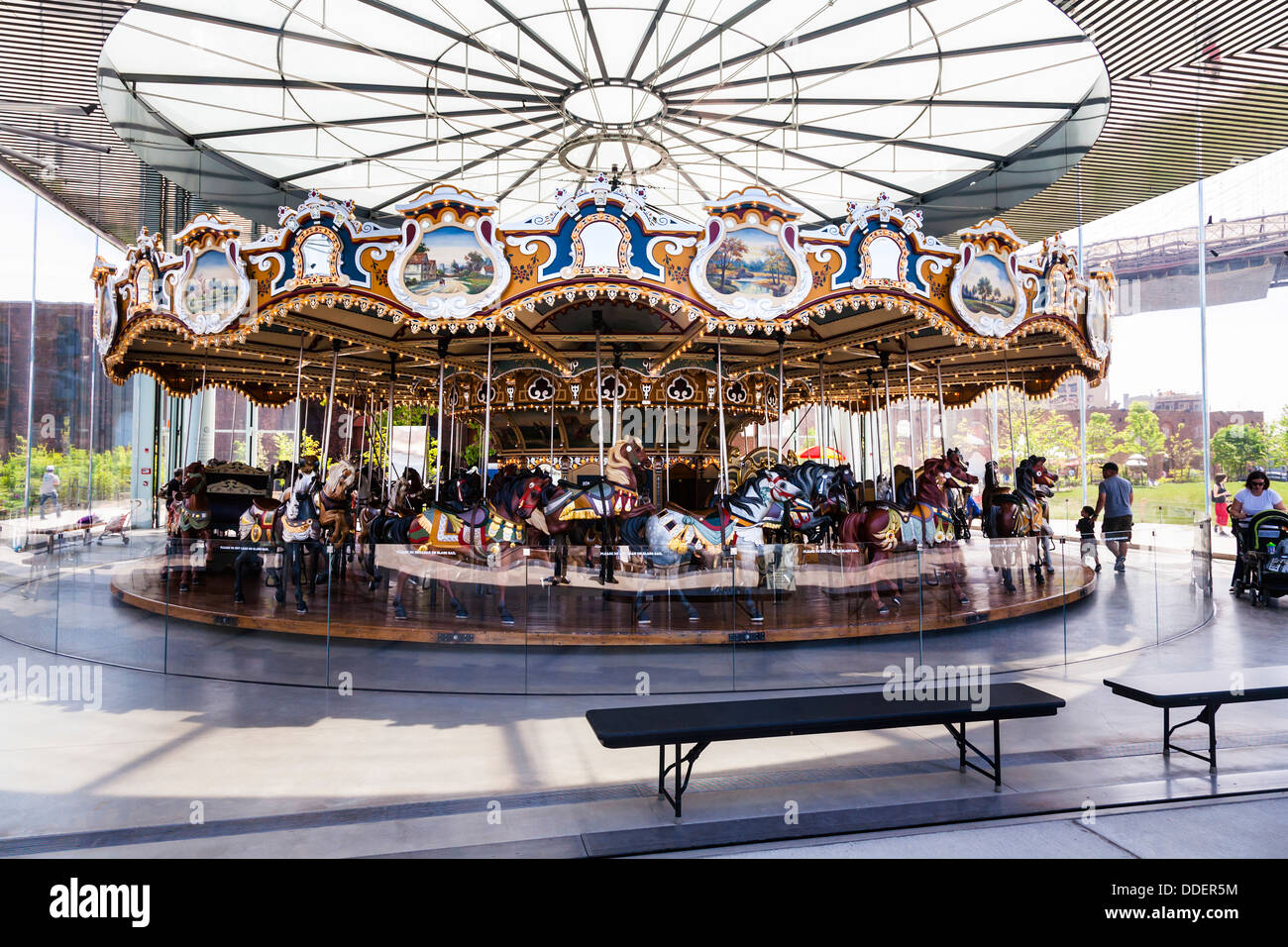 Jane's Carousel, Brooklyn Bridge Park, New York City, USA. - Stock Image