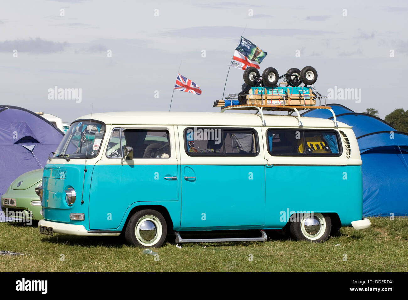 990c7689be VW Camper with a Radio Flyer on a roof rack Santa Pod Raceway England -  Stock