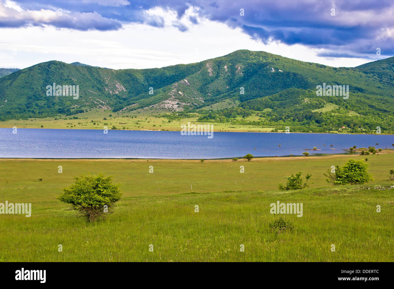 Lika region mountain and lake landscape, Croatia - Stock Image