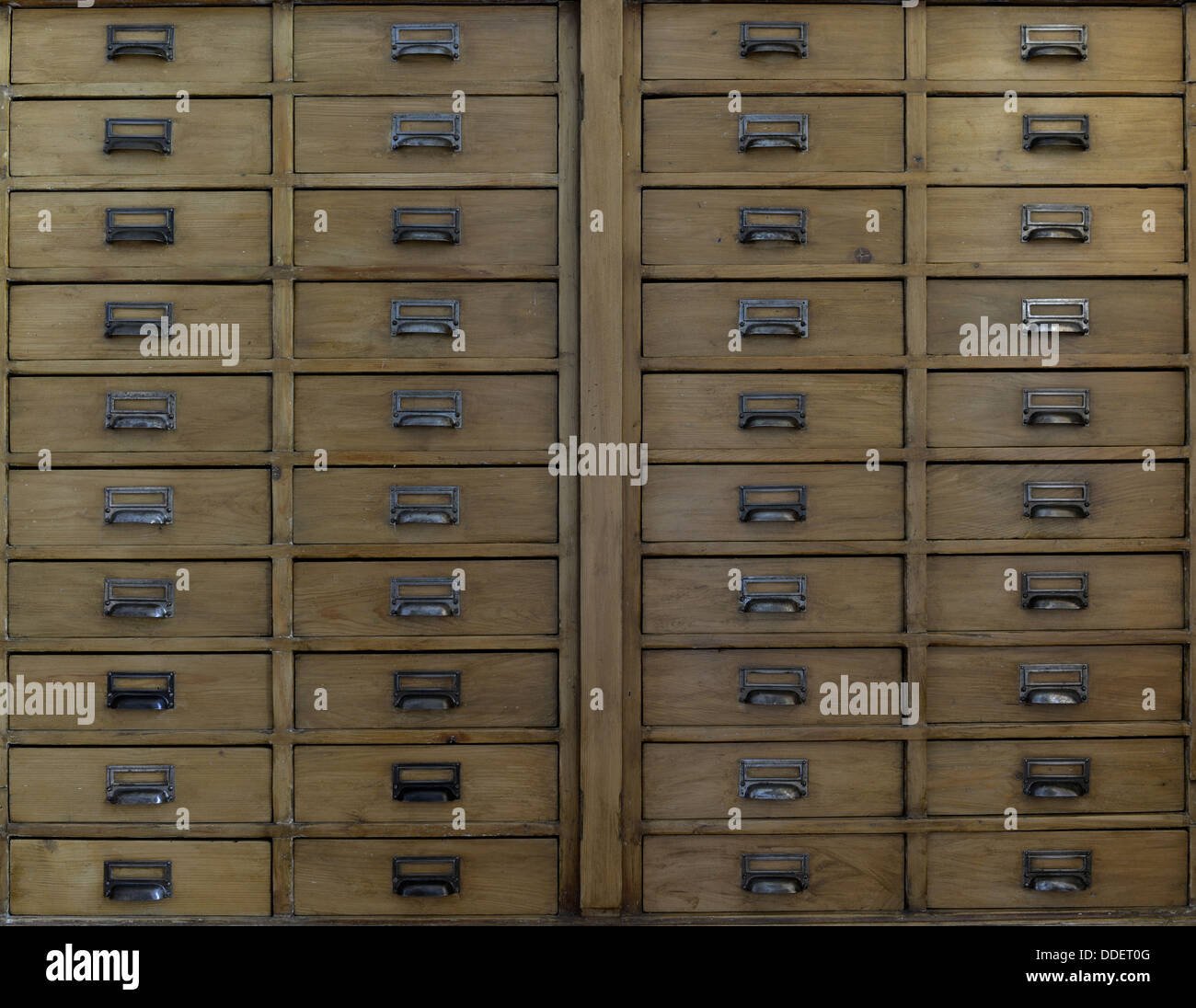 Cabinet with wooden drawers - Stock Image