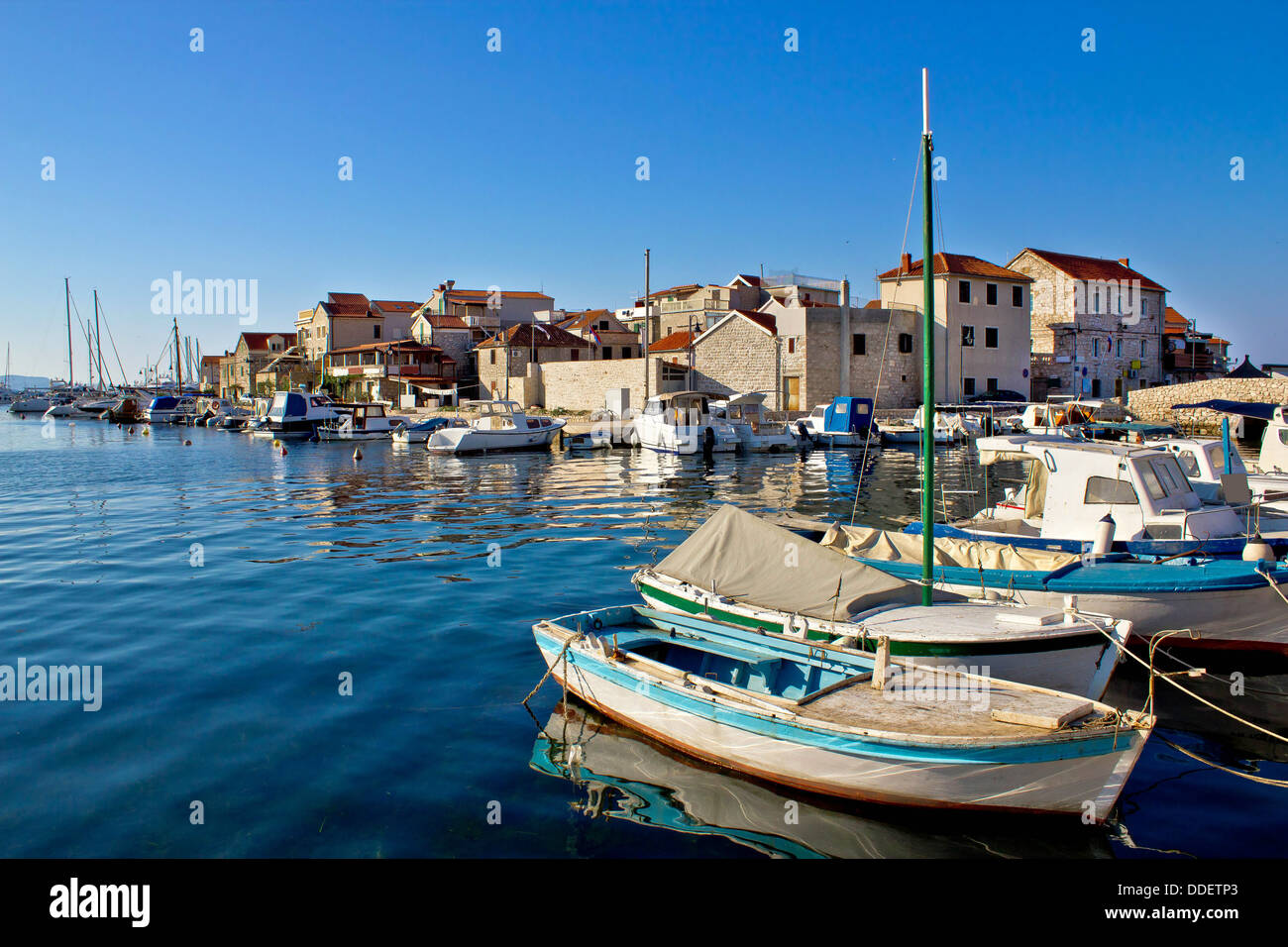 Adriatic town of Tribunj waterfront, Dalmatia, Croatia - Stock Image