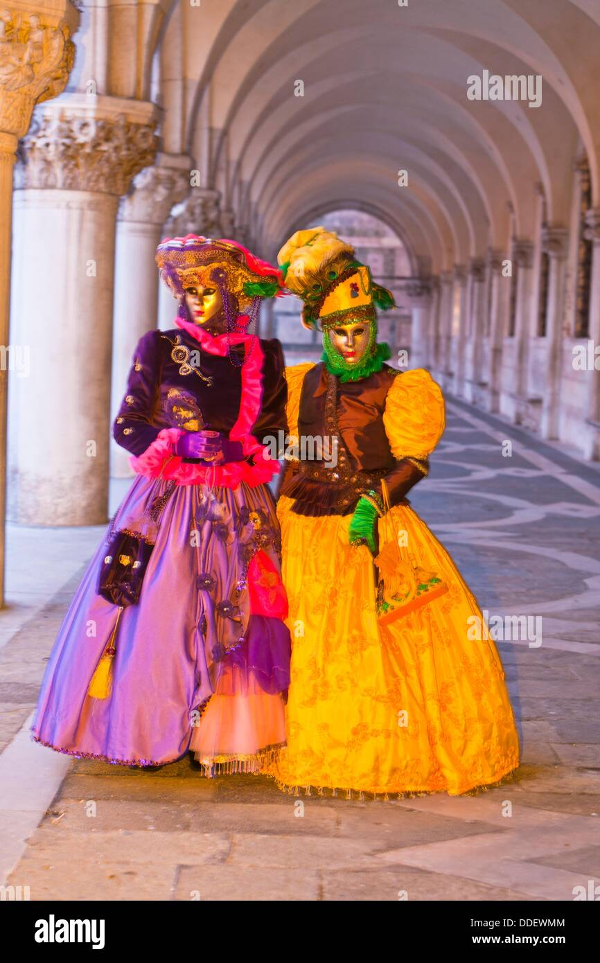 Two masked women at the carnival in Venice, Italy, Europe - Stock Image