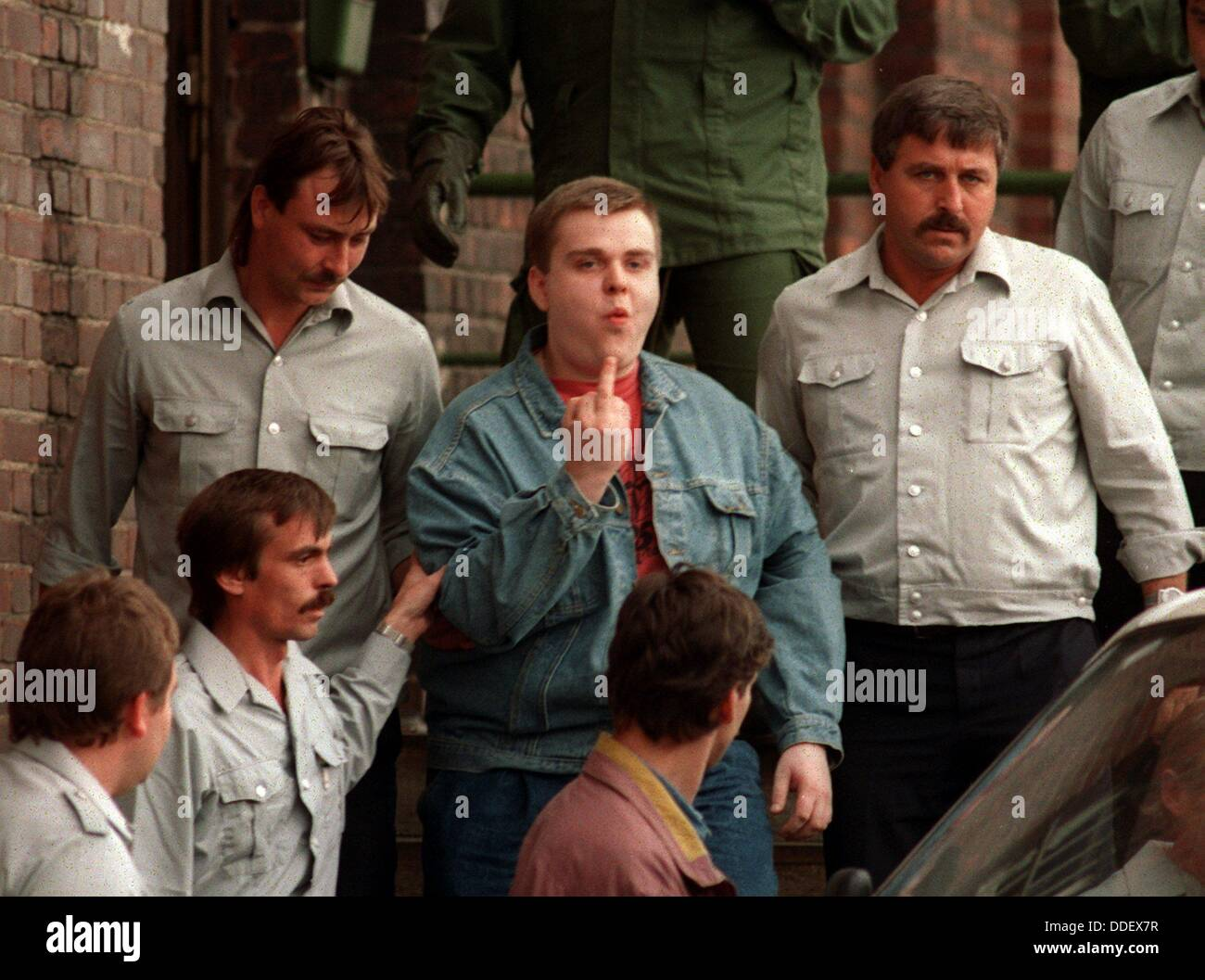 Sven Boecker (M), one of the defendants at the skindhead trial in Eberswaldek, leaves court on the 14th of September - Stock Image