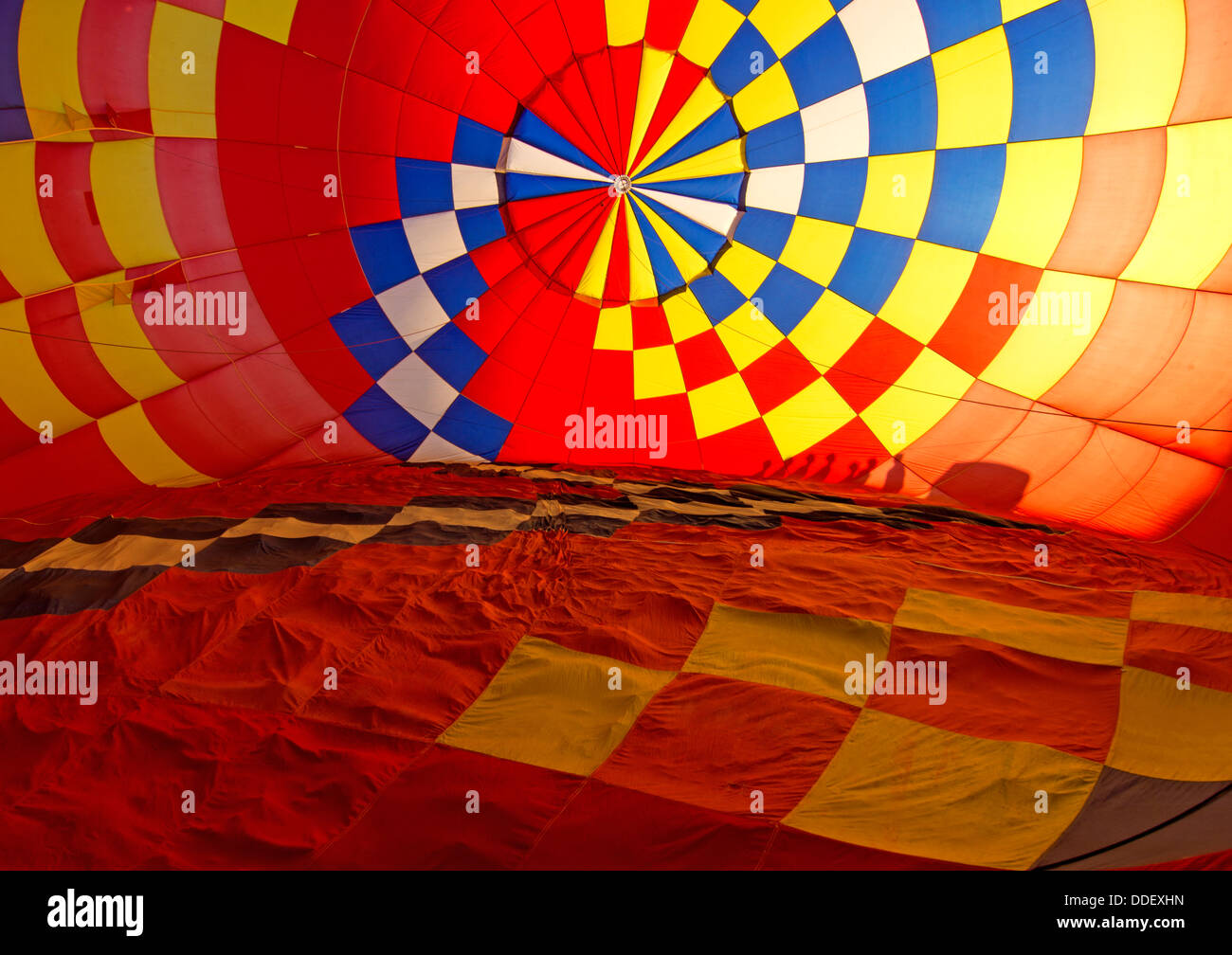 Inside of a hot air balloon during inflation. - Stock Image