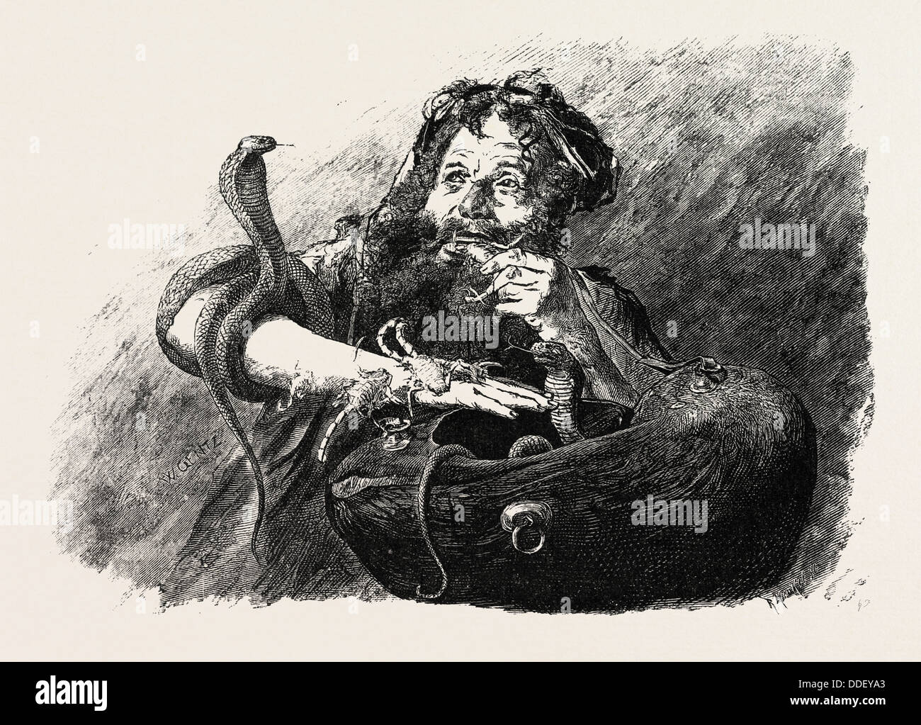 DERVISH EATING SCORPIONS.  Egypt, engraving 1879 - Stock Image