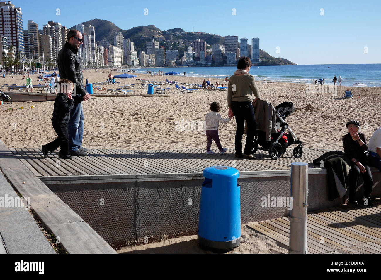 disability access to Levante Beach in Benidorm Costa Blanca Spain - Stock Image