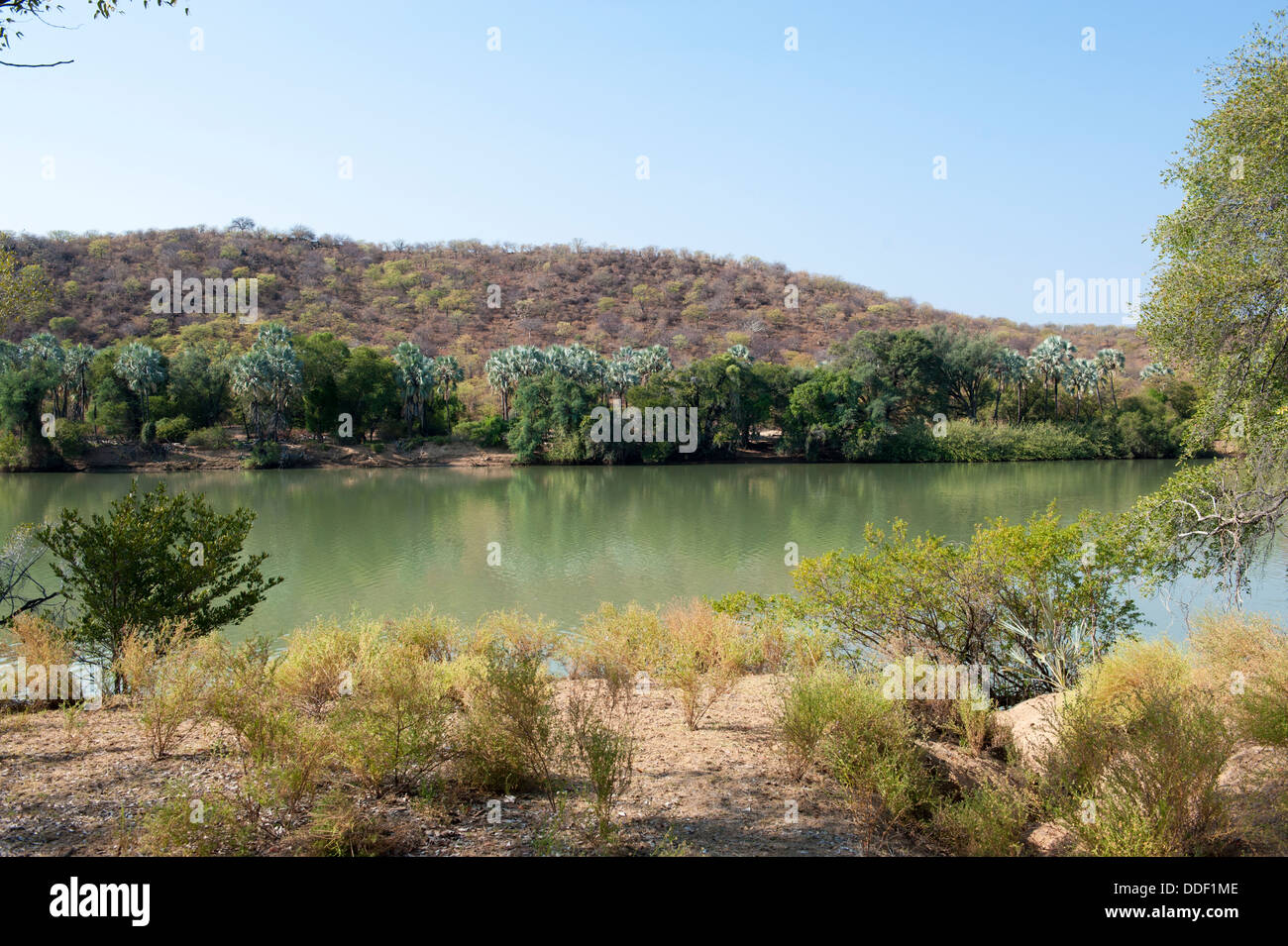 Kunene River in Namibia is the boundary river with Angola - Stock Image
