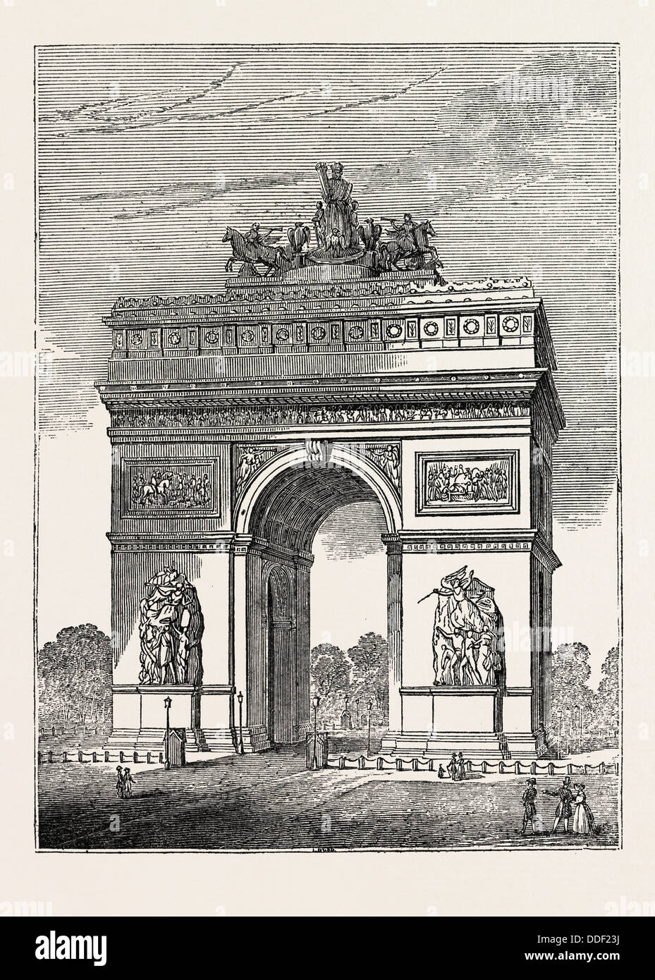 NEW TRIUMPHAL ARCH AT PARIS, FRANCE, 1836 - Stock Image