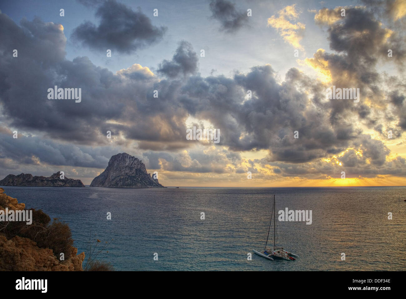 Sunset in Cala D´Hort, Ibiza, Spain - Stock Image