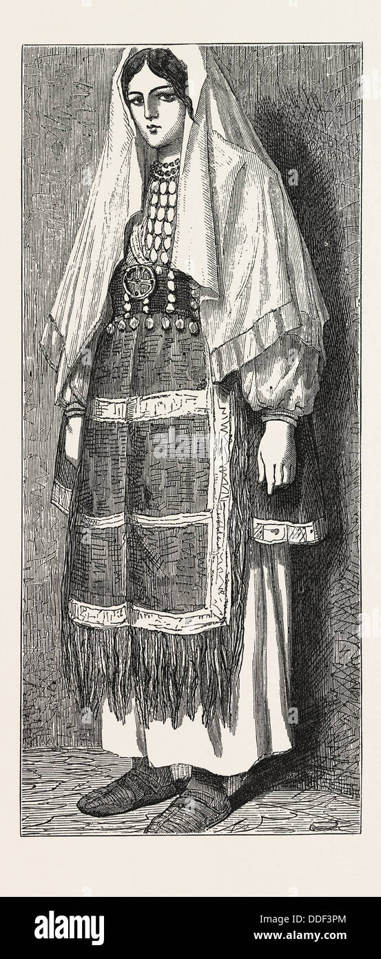 TRADITIONAL SLAVONIC DRESS. Slav, Slavic or Slavonic  refer to Slavic peoples - Stock Image