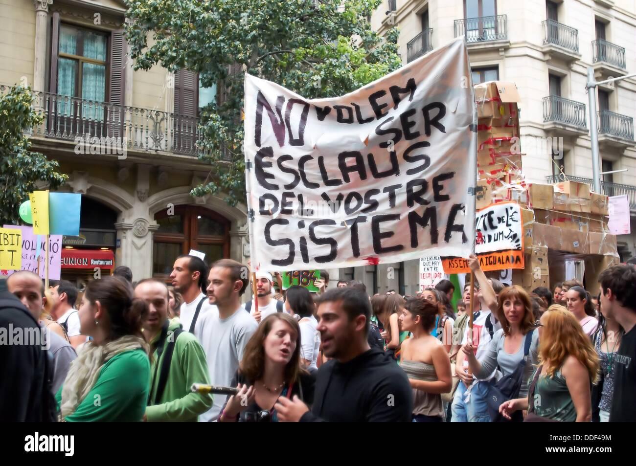 -Indignants Movements 15M- Barcelona (Spain). - Stock Image