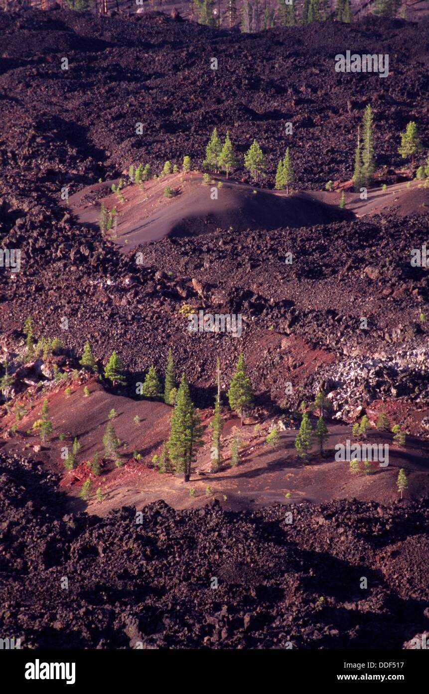 Fantastic Lava Flow from Cinder Cone, Lassen Volcanic National Park, CA - Stock Image