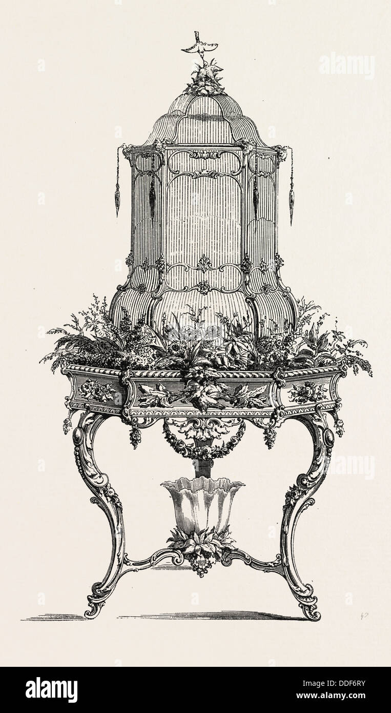 Planter. Carved wooden birdhouse. engraving 1855 - Stock Image