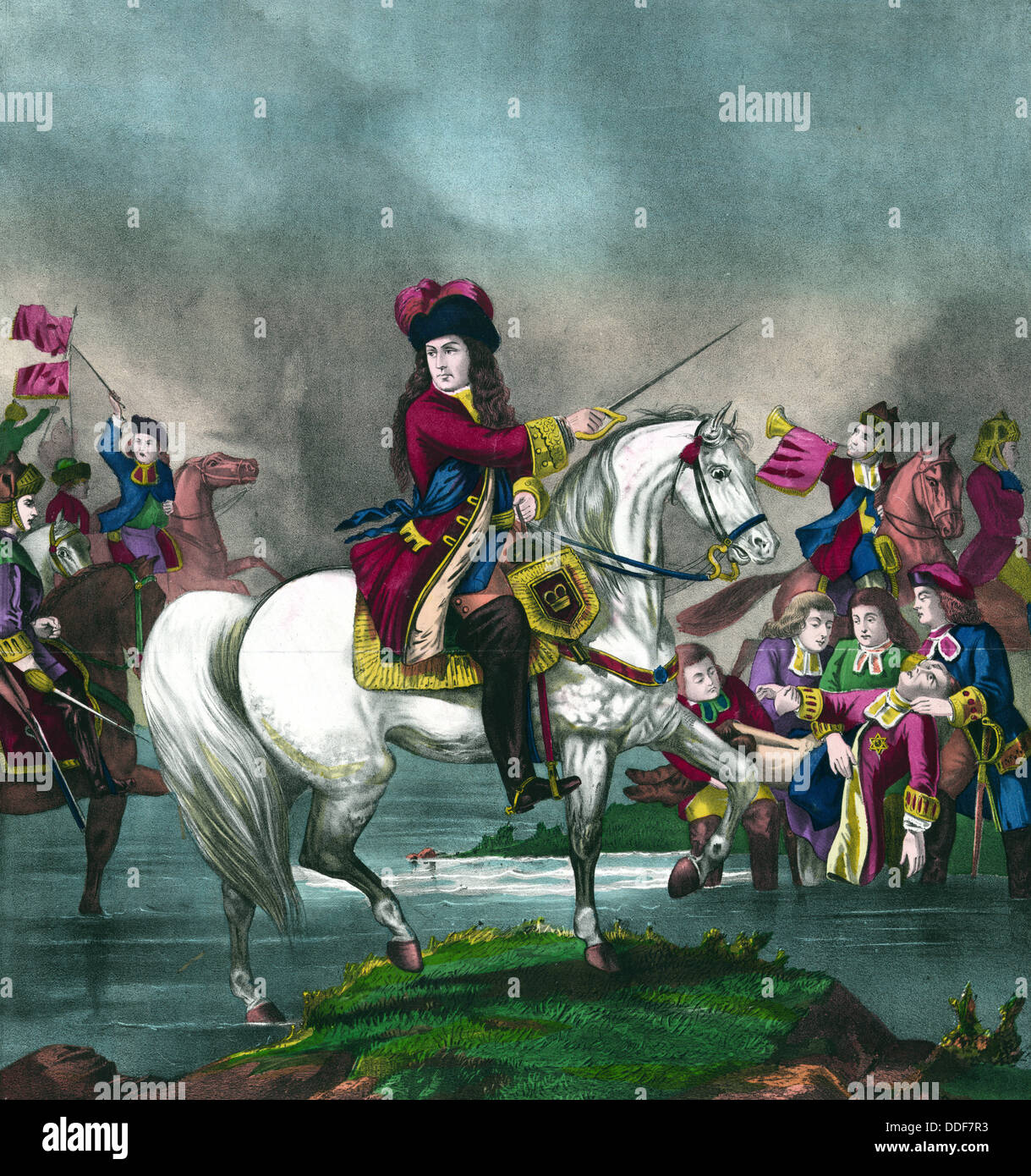 King William III at the battle of the Boyne Stock Photo
