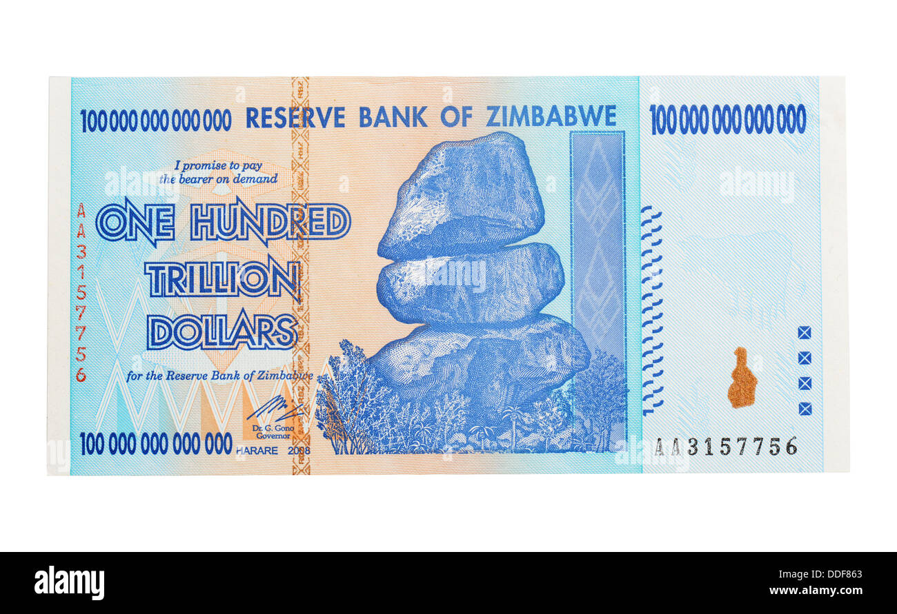 One Hundred Trillion Dollar Bank Note, One Hundred Trillion Dollar Zimbabwe Bank Note - Stock Image
