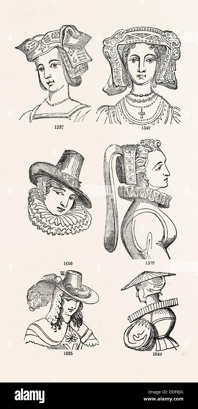OLD ENGLISH HEAD DRESS, UK, britain, british, europe, united kingdom, great britain, european - Stock Image